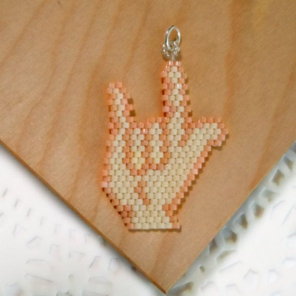 ASL I Love You Seed Bead Charm America Sign van BeadCrumbs op Etsy, $5,00
