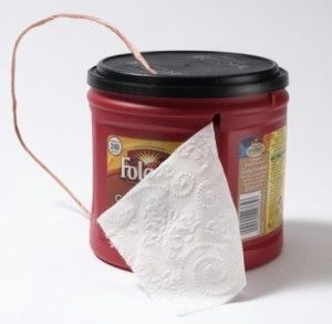 Toilet paper dispenser. Use an old coffee can or other plastic container as a toilet paper dispenser. Make a slit in the container to pull the toilet paper from. Make a handle out of twine. PERFECT FOR CAMPING!