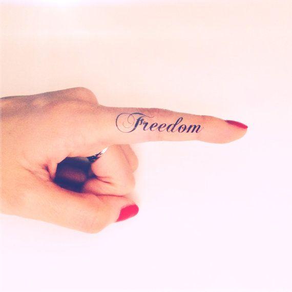 2pcs FREEDOM finger script word tattoo  - InknArt Temporary Tattoo -  script couple lover temporary tattoo wrist neck ankle on Etsy, $3.99