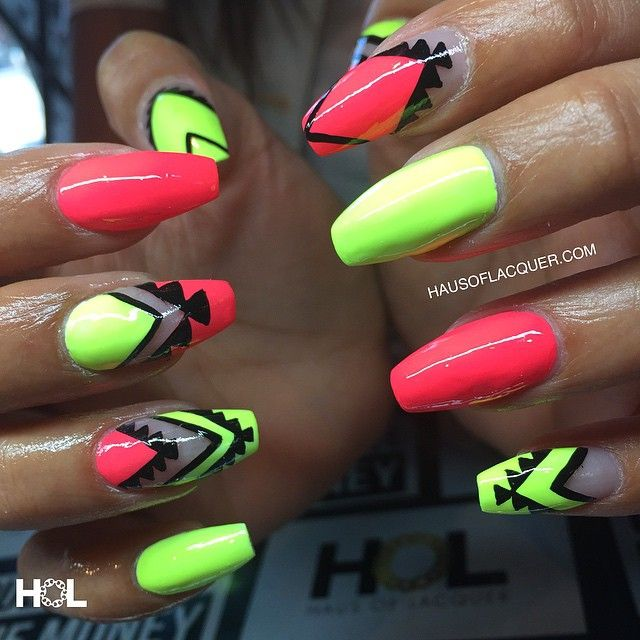 Neon Coral and Yellow Negative Space Aztec Nails
