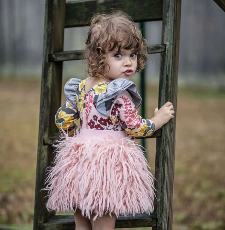 Wool Fluffy Skirt for Baby Girl (Pink/Dark Grey)