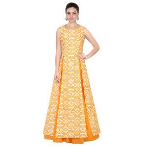 Terrified Yellow And White Silk Anarkali Suit.