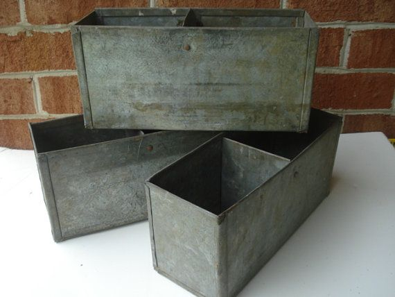 Reserved For Audrey Only Vintage Old Galvanized Metal Box/Container/Bin For  Storage Or Organizing
