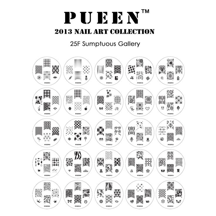<b>PUEEN 2013 Nail Art Collection 25F Sumptuous Gallery</b>  The hottest new set of image plates from the nail art experts at PUEEN!  PUEEN Nail Art Stamping Image Plates #01-#25 were designed and created from the ground up to introduce exciting new designs to nail art stamping.   There are...