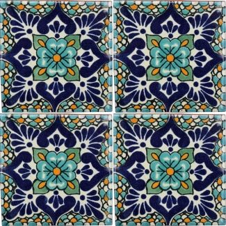 Traditional Mexican Tile - Lluvia, Azul
