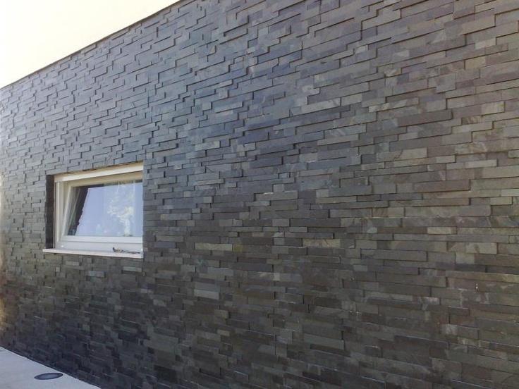 Mrs Stone Store | Products | MO060 | Stepped Slate Wall Cladding Panel Brazilian Black