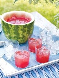 Nothing says summer cocktails like a watermelon...pitcher? Punch bowl? Either way, ladle up! Cheers!
