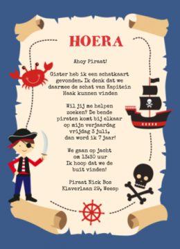 Uitnodiging die er uit ziet als een schatkaart! Met leuke illustraties van een piraat, een schip en doodshoofd. In de schatkaart kan je je eigen tekst plaatsen.