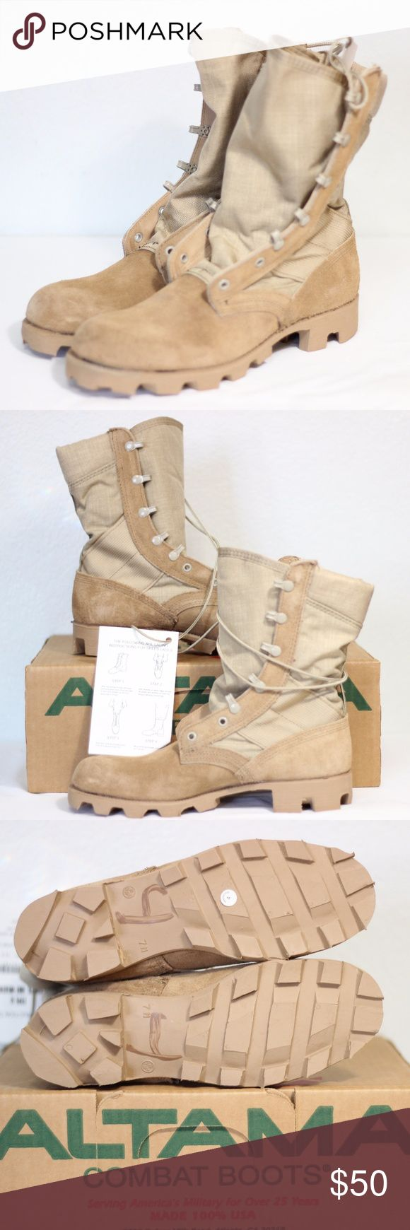 Altama Combat Desert Boot Mens Sand Tan Suede NWT Put these on!!!   FEATURES: Altama Desert Combat Boots Type II Boot, Hot Weather Sand Tan Desert Suede 100% Authentic New in Box Some boxes may be dented from storage, but all boots are in new condition   Questions welcome. Thanks for looking. Altama Shoes