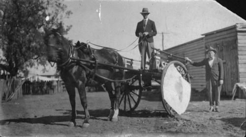 Grocery delivery cart at Rosewood ca. 1925