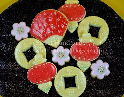 Sweet Handmade Cookies - Chinese New Year cookies, lantern cookies, cherry blossom cookies, coin cookies