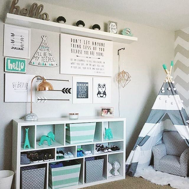 Sunday vibes in this sweet aqua and gray nursery Design by @ivonnestacy