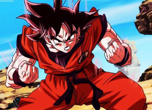 coolest dragonball gifs | HQ Goku Kaio-ken Power Up On Dragon Ball Z