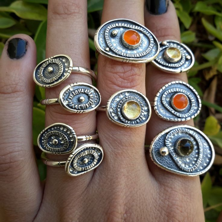 SIZE US 5¼ WITH CARNELIAN (ORANGE) – MAXI EVIL EYE TALISMAN RING. HANDMADE STERLING SILVER. INDIGENOUS JEWELS. AWAKE COLLECTION VOL.1 – My Gypsy Store
