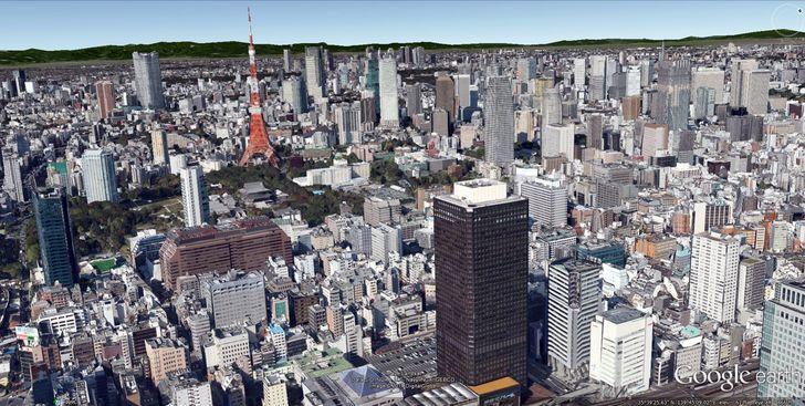 Google Earth 3-D model of Tokyo, Japan