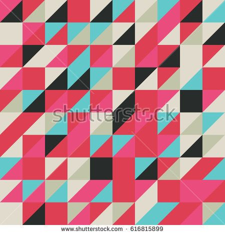Vector red-pink-blue-black abstract triangle seamless pattern texture background