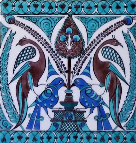 'Doves and Peacocks' ceramic tile – Danielle Adjoubel