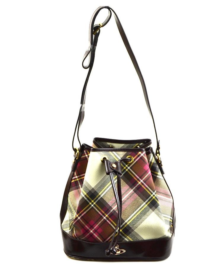 Vivienne Westwood Orb Pebbled Bucket in tartan Madison Bags sale