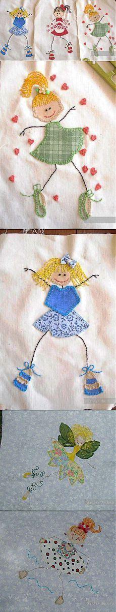 Детские аппликации - примеры работ. Из ткани / Рукоделие - мастер классы по шитью оригинальных вещей, мастер классы / КлуКлу. Рукоделие - бисероплетение, квиллинг, вышивка крестом, вязание