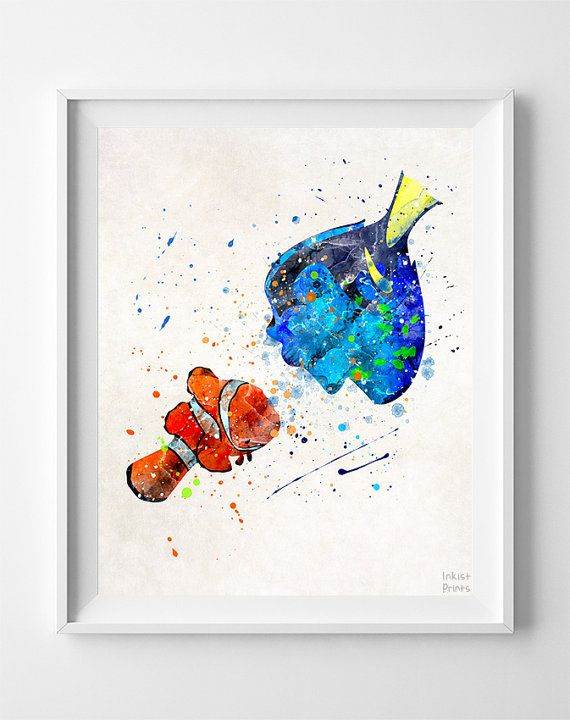 Marlin And Dori Print Finding Nemo Poster Disney by InkistPrints