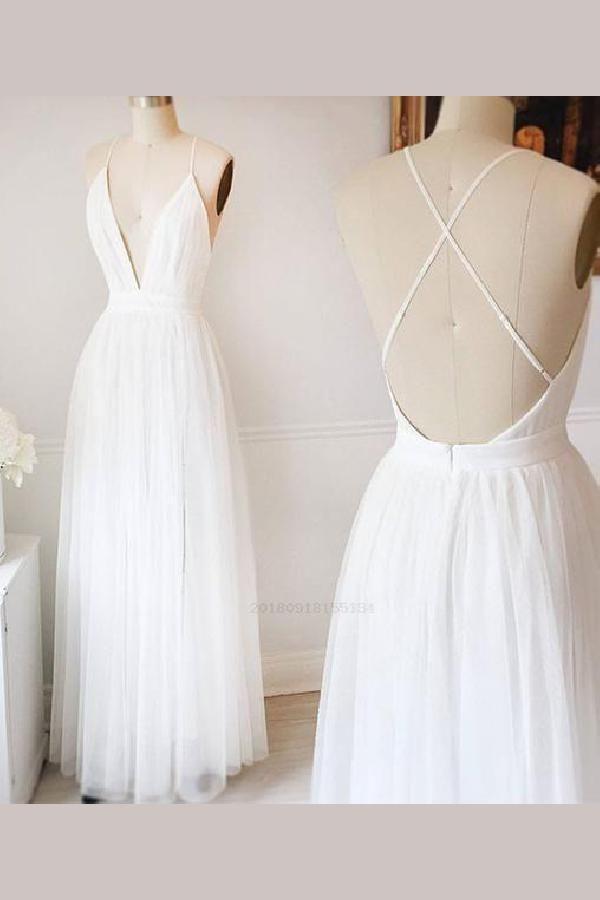 Custom Made Luscious Prom Dress 2019, Sexy Evening Dress, V-neck Evening Dress, Prom Dress White