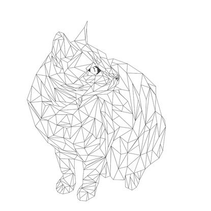 geometric cat Art Print by whoissue | Society6