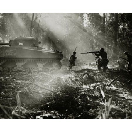 Side profile of army soldiers with a military tank in a forest Battle of Bougainville US Military Bougainville Island World War II Canvas Art - (18 x 24)