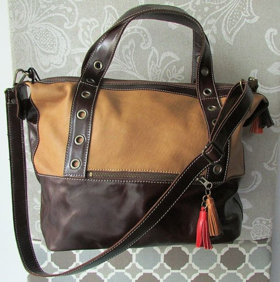 Small travel bag, Brown leather bag, Large crossbody bag, Leather laptop bag, Briefcase style on Etsy, $235.00