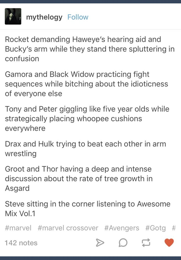 Tumblr; Marvel; Rocket; Clint Barton; Hawkeye; Bucky Barnes; Winter Soldier; Gamora; Natasha Romanoff; Black Widow; Tony Stark; Iron Man; Peter Quill; Starlord; Drax; Hulk; Bruce Banner;  Groot; Thor; Steve Rogers; Captain America