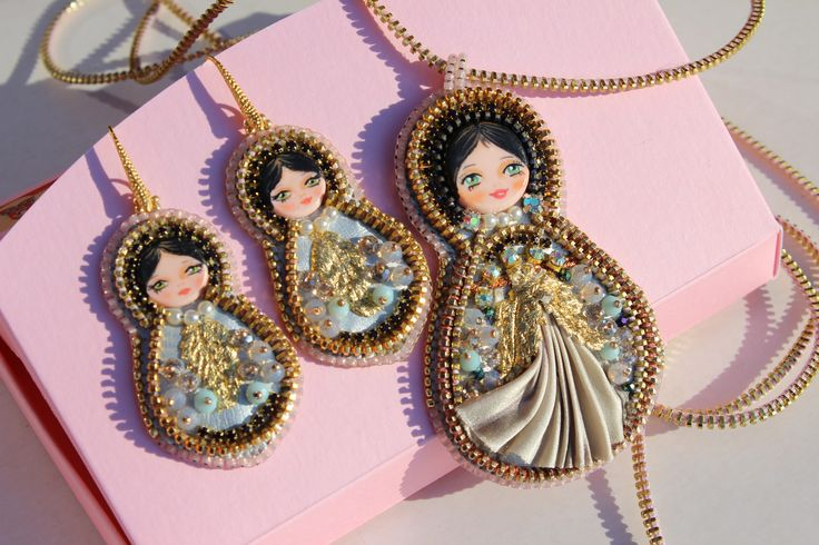 Matryoshka , art doll, Shibori silk, OOAK, handmade embroidery