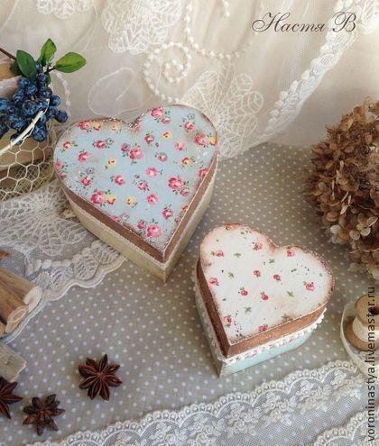 Шкатулки - сердечки - шкатулка,Декупаж,сердечко,сердце,кантри,кружево