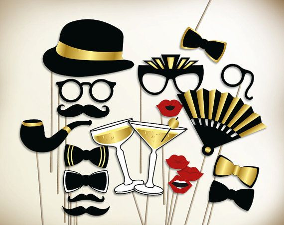 Gatsby photo booth props printable PDF. Great Gatsby props. New years photo booth props. Roaring 20s party photobooth: moustache, lips, hat.