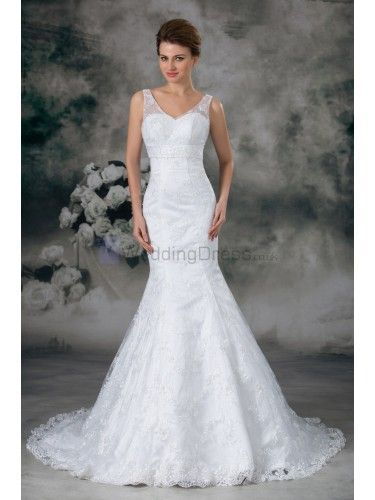 Lace V-Neck Sweep Train Sheath Wedding Dress