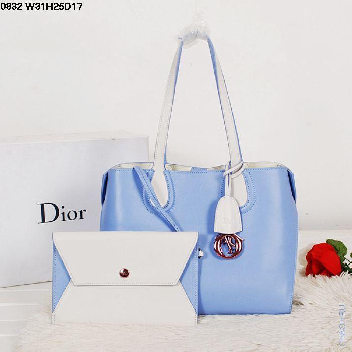 Женская сумка Christian Dior кожаная голубая с белыми ручками, с вкладным клатчем на ремешке