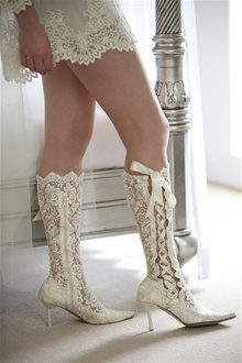 Custom Lace Bridal Boots by House of Elliot – Available in pointed or rounded toe; ankle, knee or above knee lengths; and in ivory or black. Lace wedding shoes, vintage bridal shoes, lace wedding boots, lace boots, vintage bride, vintage wedding, #wedding #vintagebride #laceshoes