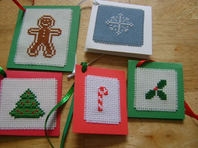 cross stitch gift tags Christmas pictures