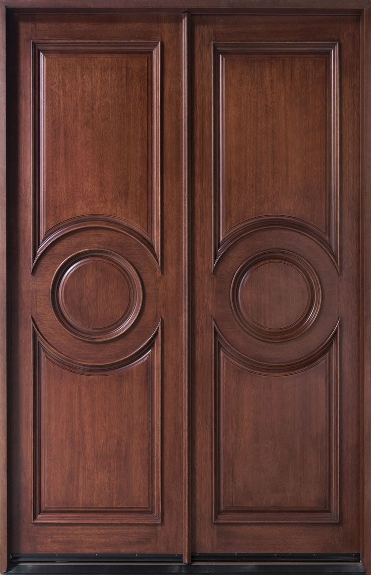 Entry Door in-Stock - Double - Solid Wood with Dark Mahogany Finish, FrenchCollection, Model DB-875N DD