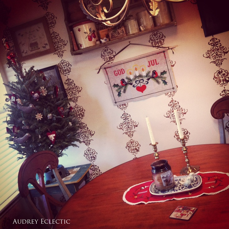 Audrey Eclectic Folk Art: Bits of Sweden in my kitchen. Swedish accents for a sweet Christmas look http://audreyeclectic.blogspot.com/2012/11/bits-of-sweden-in-my-kitchen.html