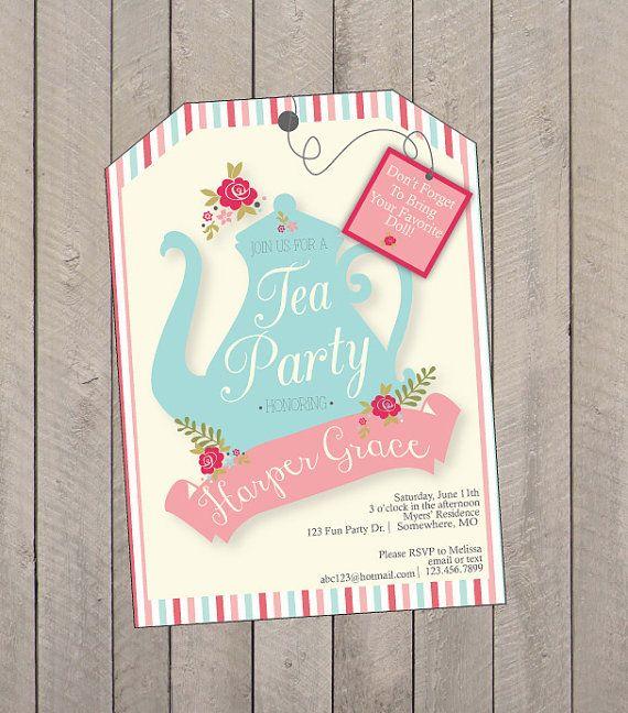 Tea Party Birthday Party Invitation Tea Party by EllaJaneCrafts