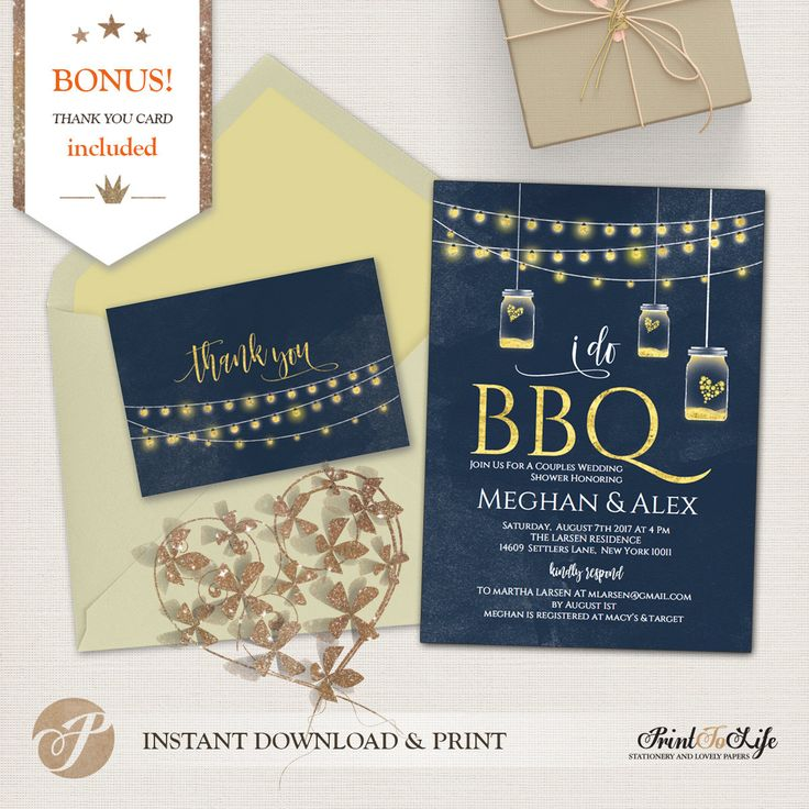 bridal shower invitations with recipe card attached%0A I do BBQ Invitation  Barbecue Wedding Shower Invitation   Thank You Card    PTL
