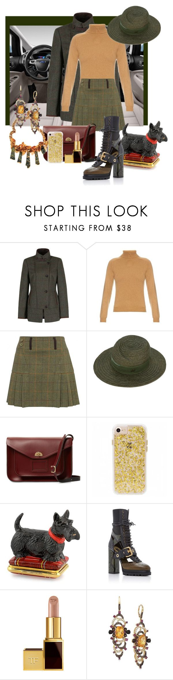 """""""DUBLIN COUNTRY DRIVE"""" by pursue-happiness ❤ liked on Polyvore featuring DUBARRY, Yves Saint Laurent, Maison Michel, The Cambridge Satchel Company, Halcyon Days, Burberry, Tom Ford, LeVian, country and plaidskirts"""