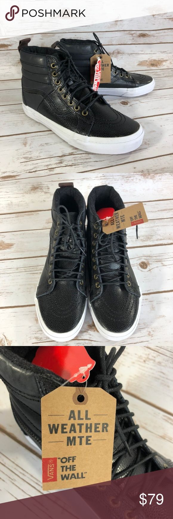 """Vans SK-8 Hi All Weather MTE Pebble Grain NEW New with Tags attached but No Box Some signs of wear on the sole from try on's (pictured) Size 8.5 - Out Sole=10.5""""; High Top to Sole=5.5"""" Size  10 - Out Sole=11""""; High Top to Sole=5.5"""" Scotchgard treated leather Fleece lining Vans Shoes Sneakers"""