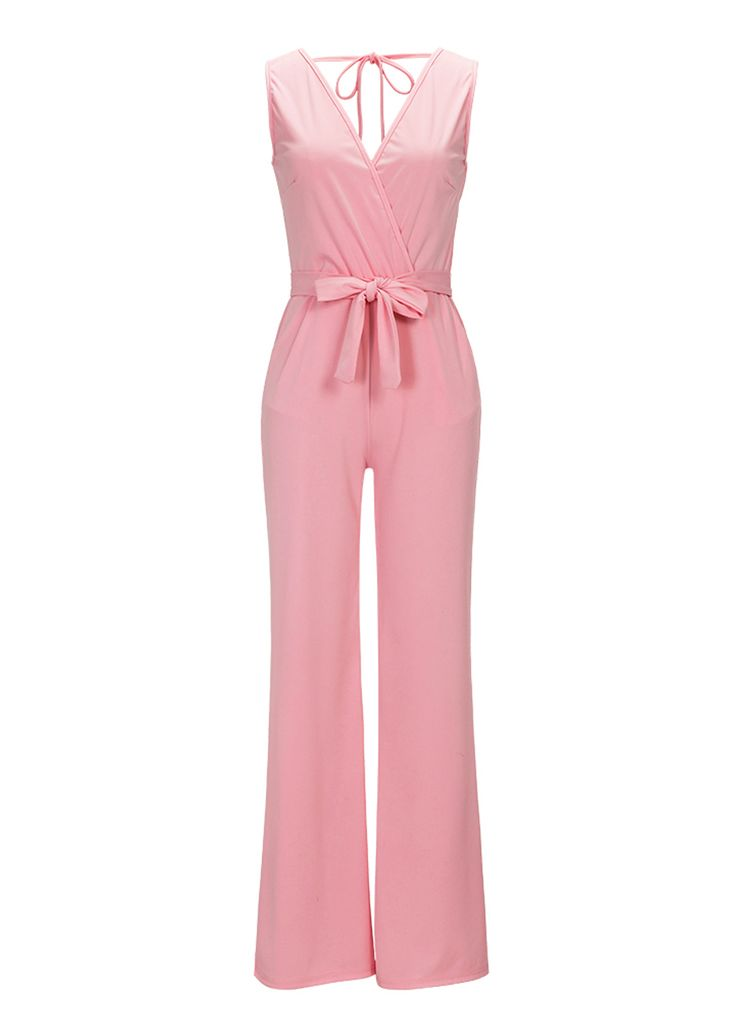Hot Pink Sleeveless Belted Jumpsuit With Pockets_Jumpsuit & Rompers_Women Clothes_Sexy Lingeire | Cheap Plus Size Lingerie At Wholesale Price | Feelovely.com