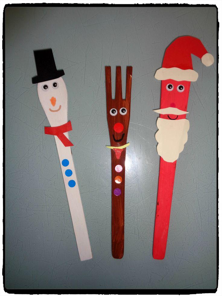 personnages de noel, pere noel, bonhomme de neige, renne de noel, bricolage enfant