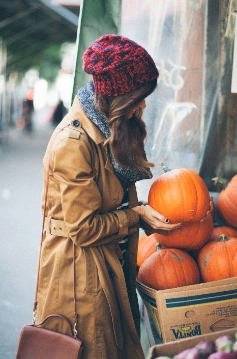 .fall, pumpkins, knit slouchy hat