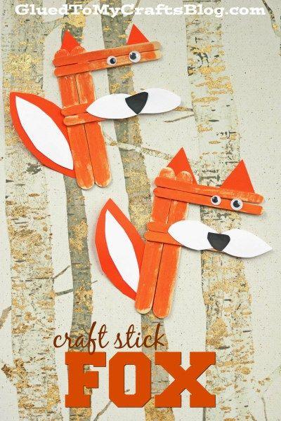 """""""F"""" is for Fox - Craft Stick Fox Kid Craft Idea"""