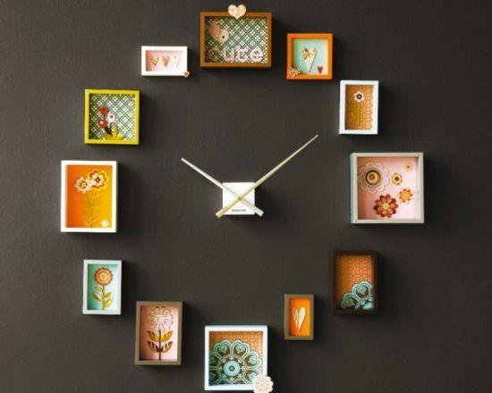 Proiect DIY ceas de perete din rame de tablouri si resturi de tapet