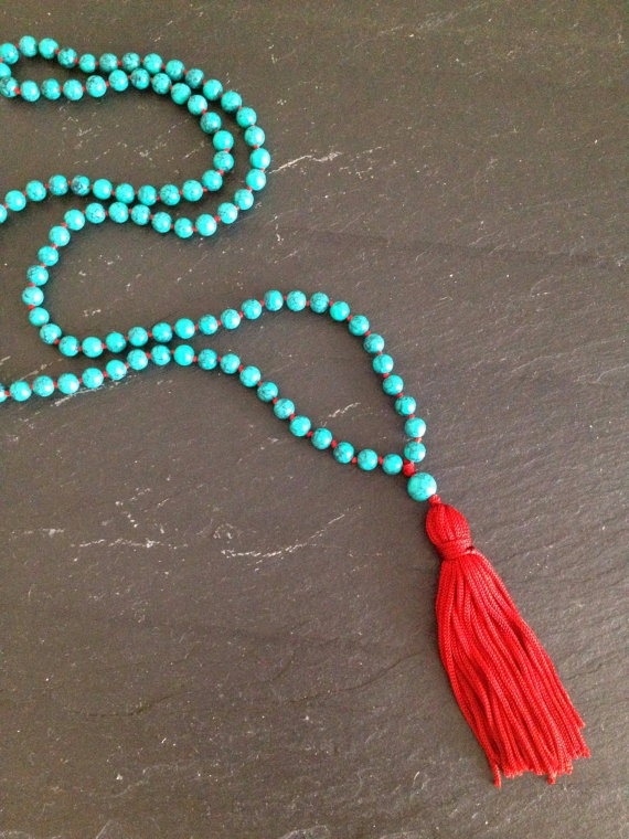 Turquoise Beaded Mala Necklace by TheArtsyNomad on Etsy