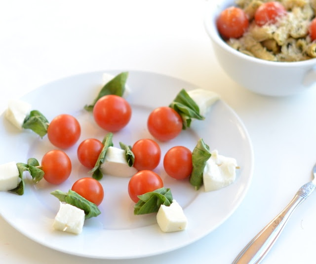 Caprese skewers with penne pesto pasta. YUM!