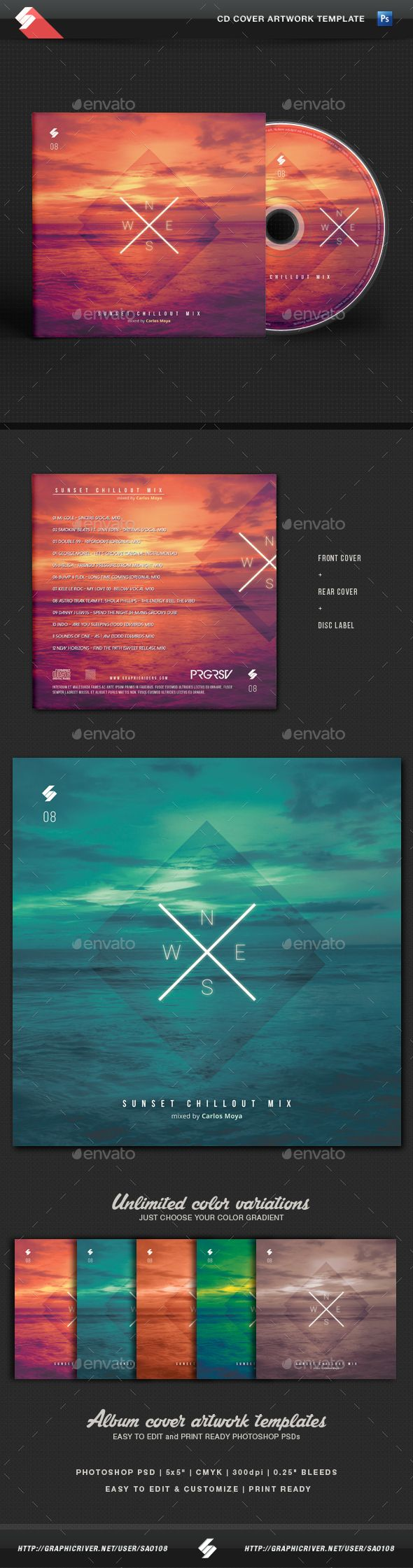 Sunset Chillout - CD Cover Template PSD. Download here: http://graphicriver.net/item/sunset-chillout-cd-cover-template/15683666?ref=ksioks